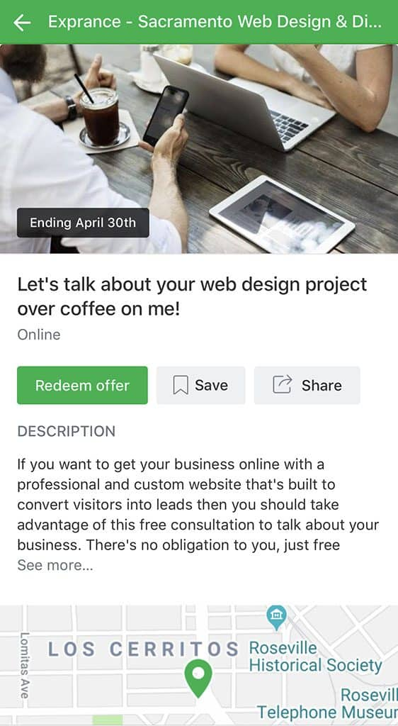 How a Nextdoor Offer looks in the Nextdoor mobile app.