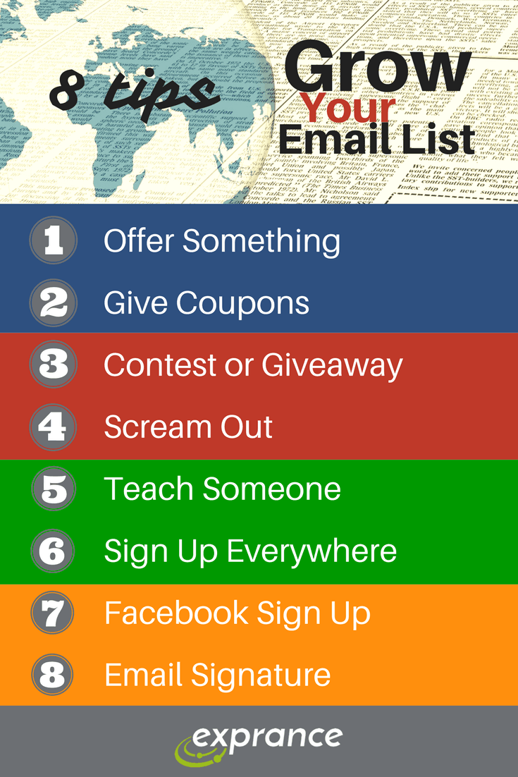 8 Tips to Grow Your Email List Infographic