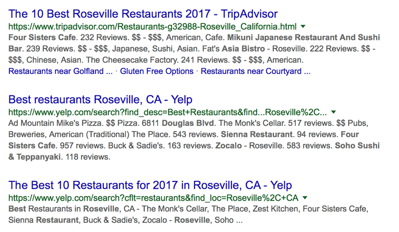 Best places to eat Google search in Roseville, California.