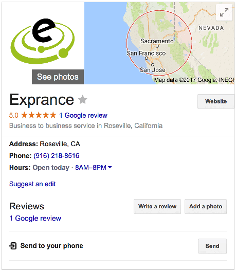 Exprance Google business listing on Google search.