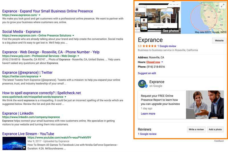 Exprance Google Search Result Business Listing