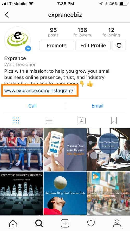 Exprance Instagram Profile Website Link
