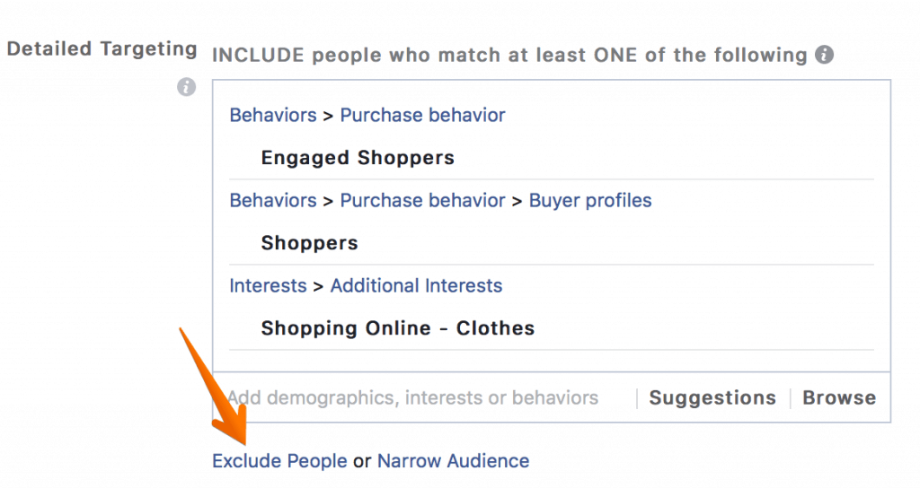 Facebook Advertising Audience Exclude People