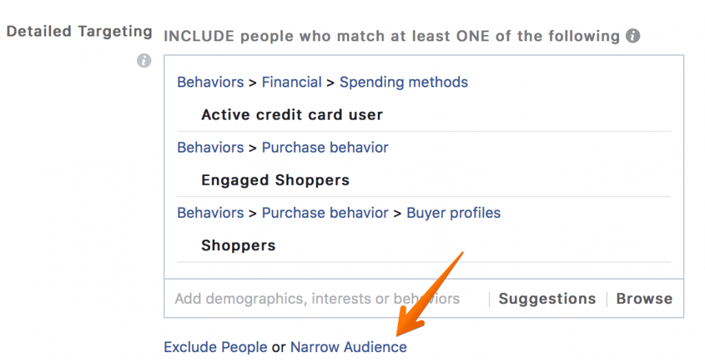 Facebook Advertising Narrow Targeting Option