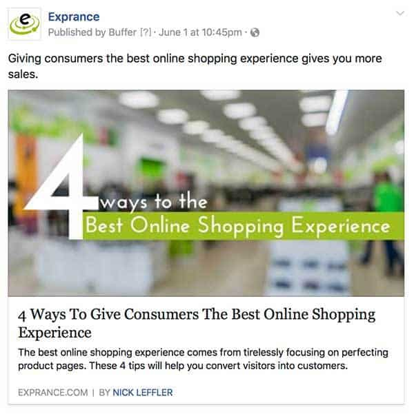 Facebook Shared Blog Post from Exprance