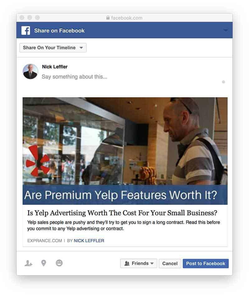 Facebook Sharing Window