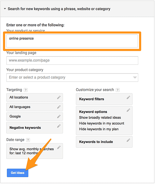 Google AdWords Keyword Planner Get Ideas Search
