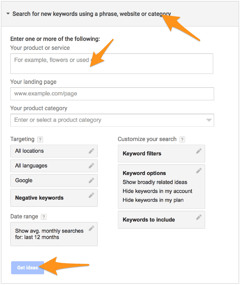 Google AdWords Keyword Planner Get Ideas