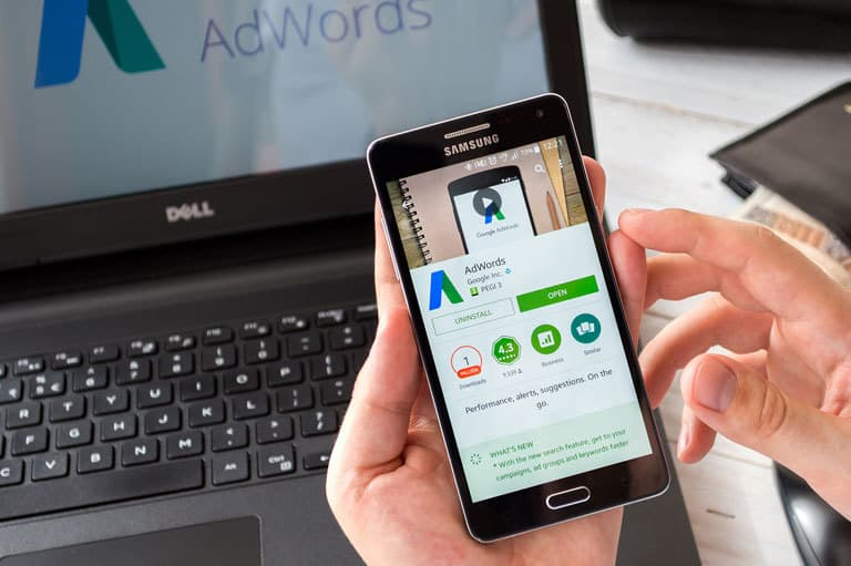 Google Ads Search Engine Marketing PPC on Smartphone