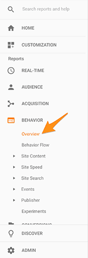 Google Analytics Behavior Overview Menu Item