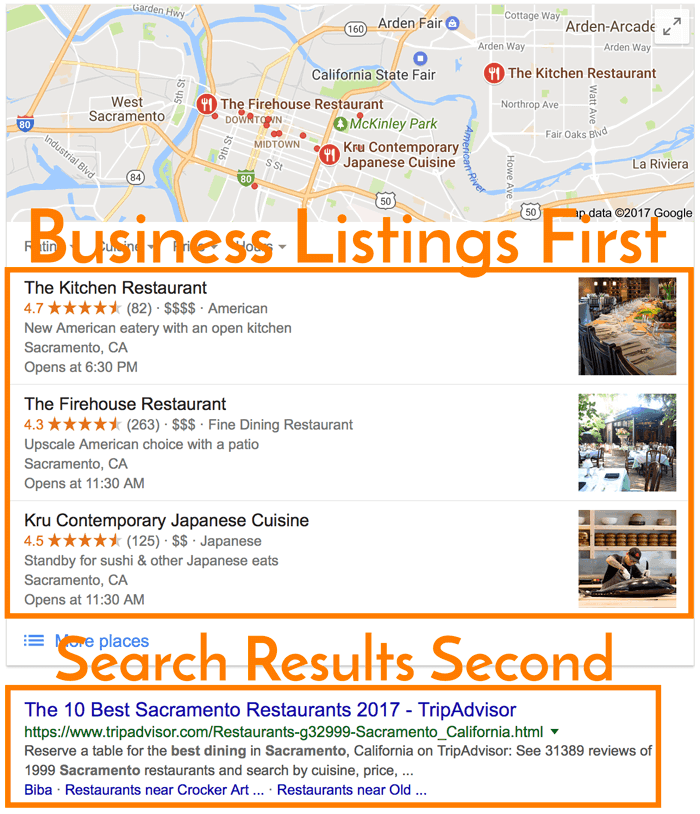 Google Business Search Results Order