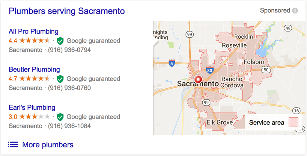 Google Local Business Desktop Search Results
