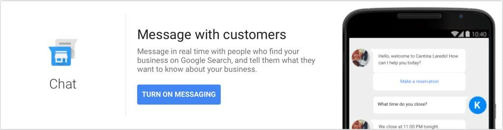 Google My Business Chat Setup