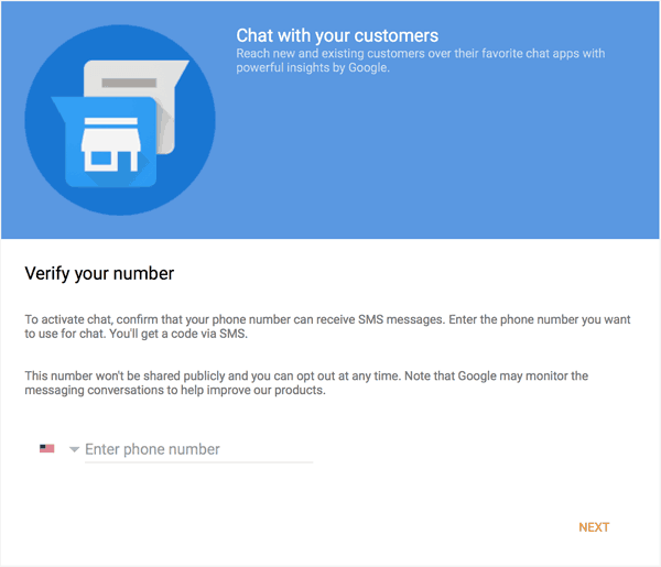 Google My Business Chat Verify Phone Number