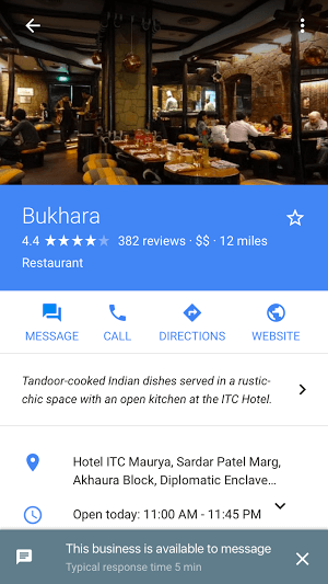 Google Business Chat Maps Profile Message