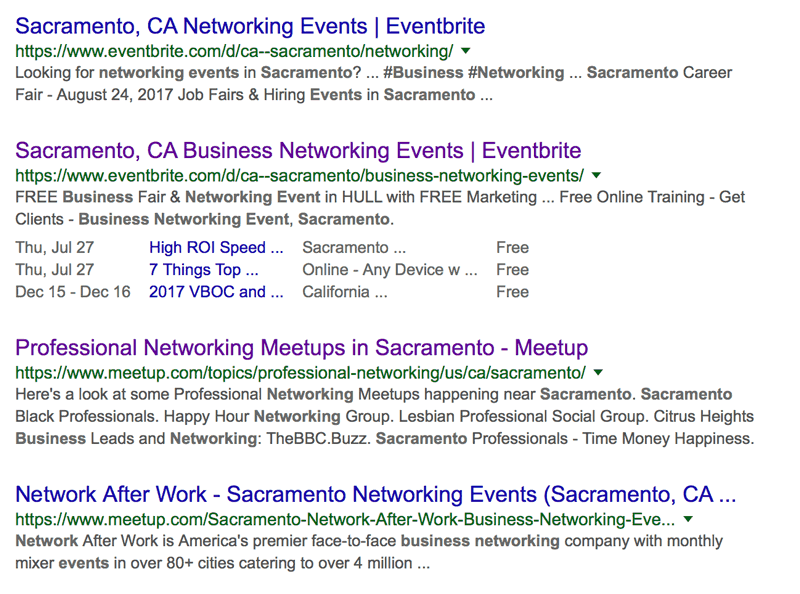 Google Search Results: Sacramento Business Networking Events