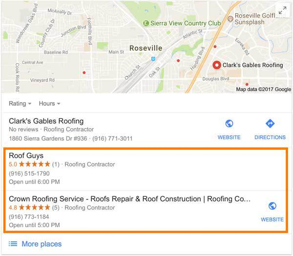 Google Search Roofers Business Listings