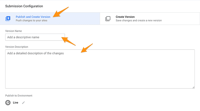 Google Tag Manager Submit Changes