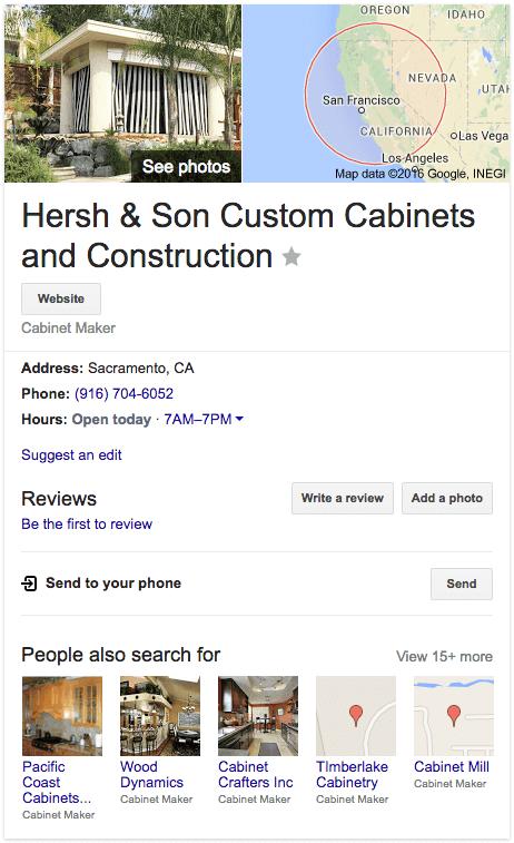 Cabinet Google Biz Result