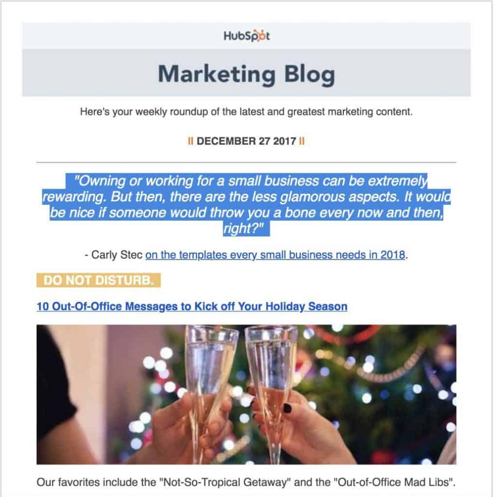 HubSpot Marketing Blog Email