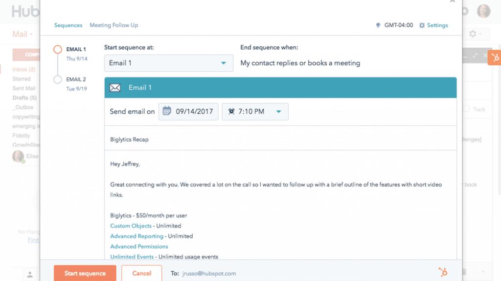 HubSpot Sales Sequence Screenshot