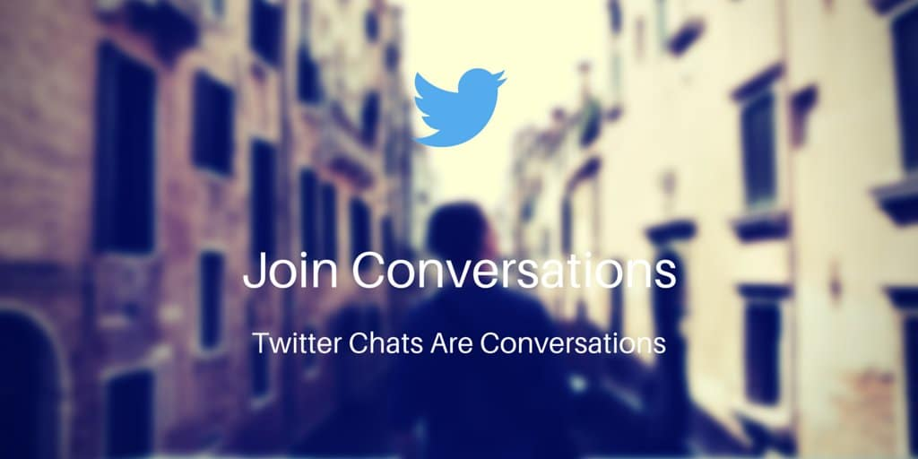 Man walking down a city street with text overlayed: Join conversations. Twitter chats are conversations.