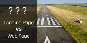When To Create a Landing Page vs Web Page overlayed over landing runway