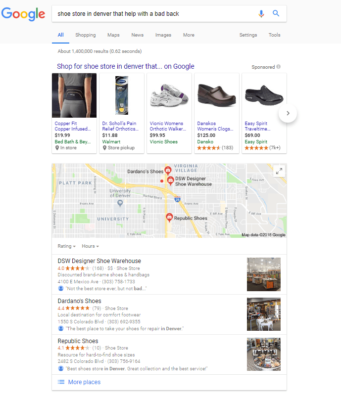 Local Google Search for Shoes That Help With A Bad Back