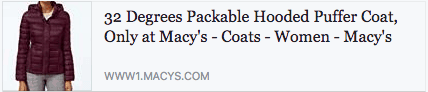 Product from the Macy's online store shared in Facebook comments.