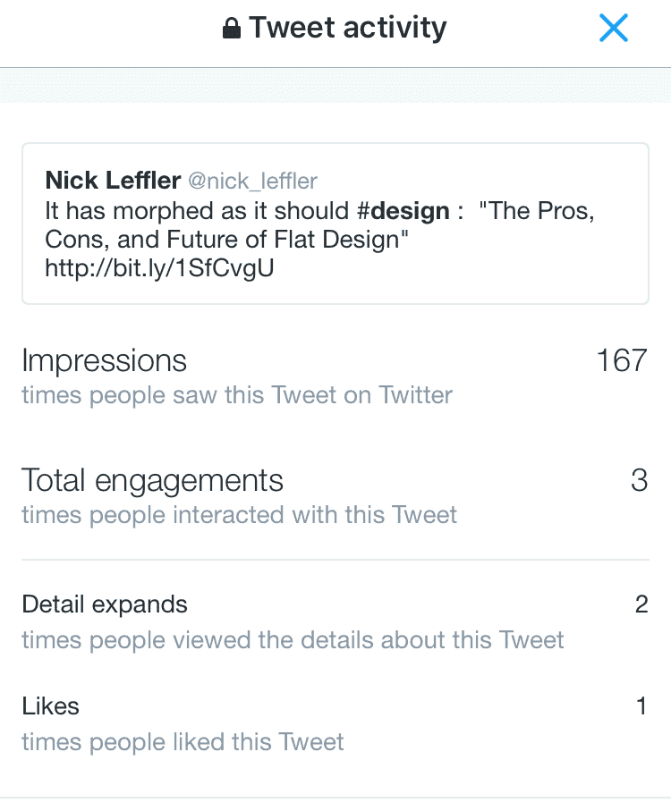 Twitter analytics from the iOS mobile app.