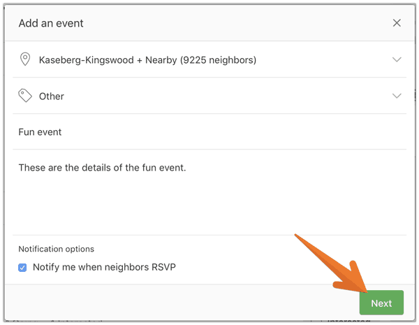 Nextdoor - Add Event First Screen