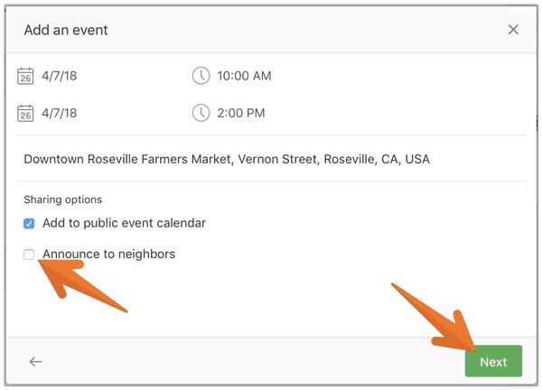 Nextdoor - Add Event Second Screen