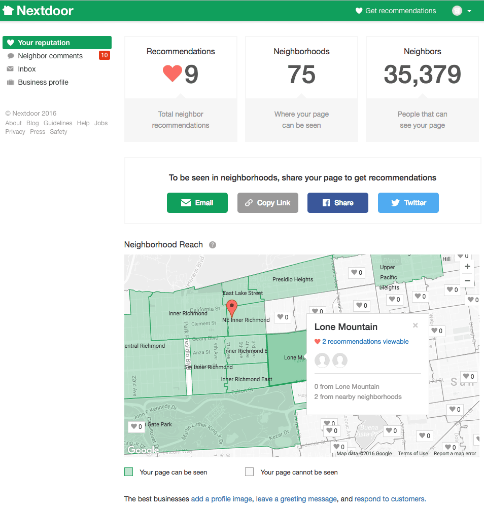 Nextdoor Business Page Dashboard