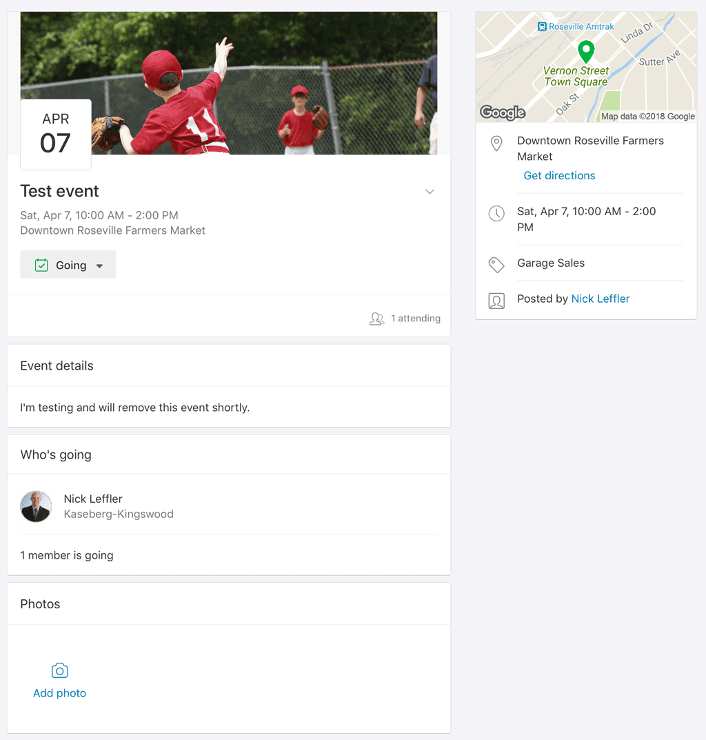 Nextdoor Event Page