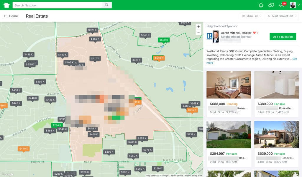 Nextdoor Real Estate Section Desktop