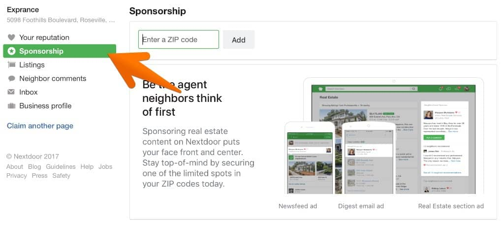 Nextdoor Real Estate Sponsorship Initiation