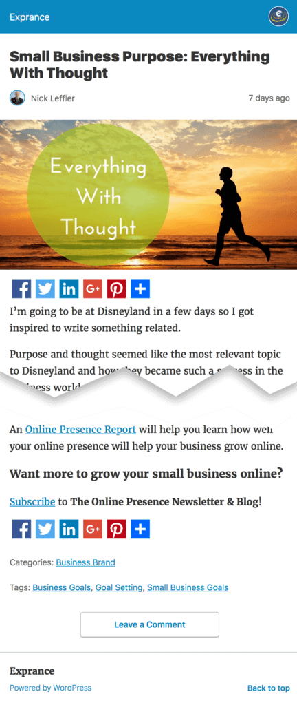 Online Presence Blog Post AMP Page