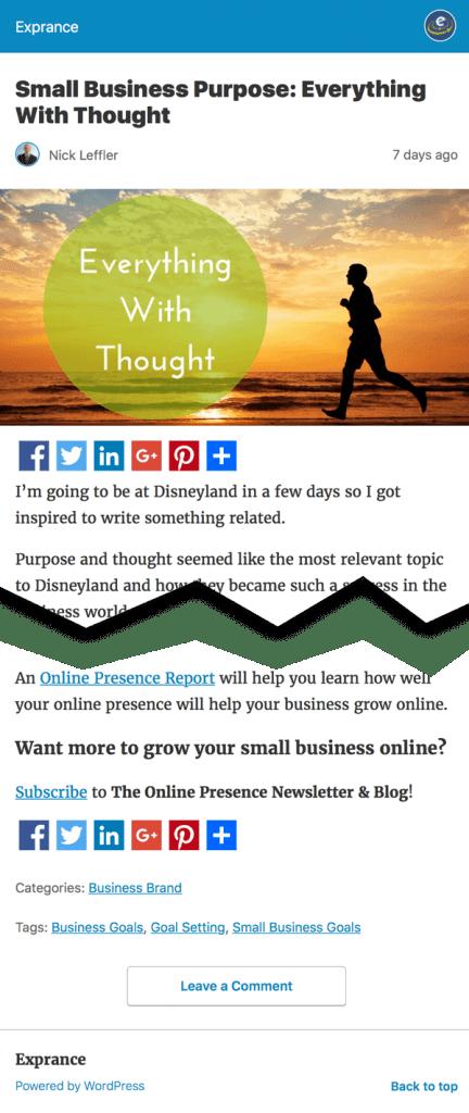 Online Presence Blog Post AMP Page