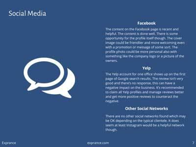 Online Presence Report Social Media