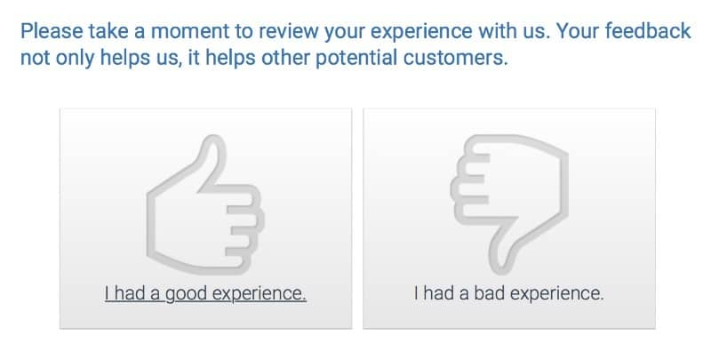 Thumbs up for thumbs down for business service feedback.