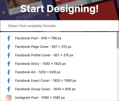 Pixelied start designing size templates