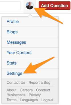 Quora Account Settings Access