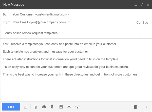 Online Review Request Email Template
