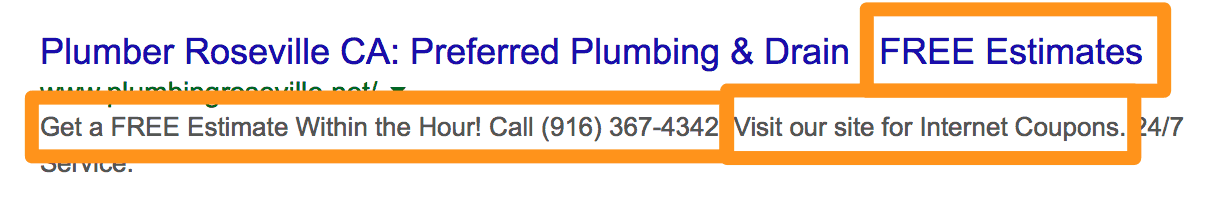 Roseville Plumber Google Search Callouts