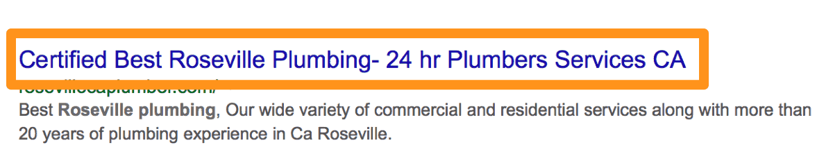 Roseville Plumbers Good Straightforward SEO Title