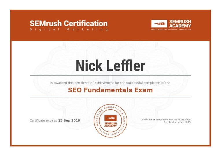 SEMrush Academy Certificate - SEO Fundamentals Exam - Nick Leffler