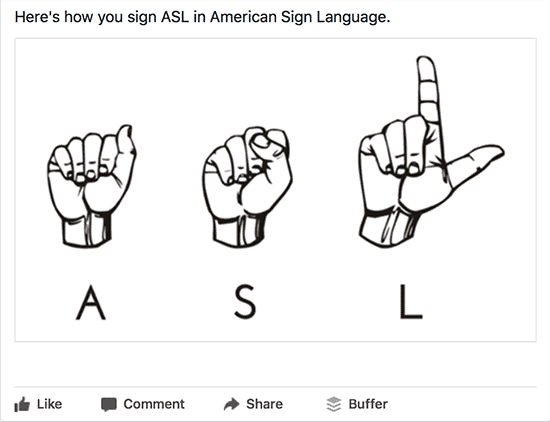 Sign ASL (American Sign Language) Facebook Post