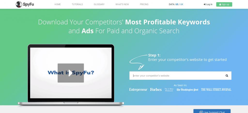 SpyFu Home Page