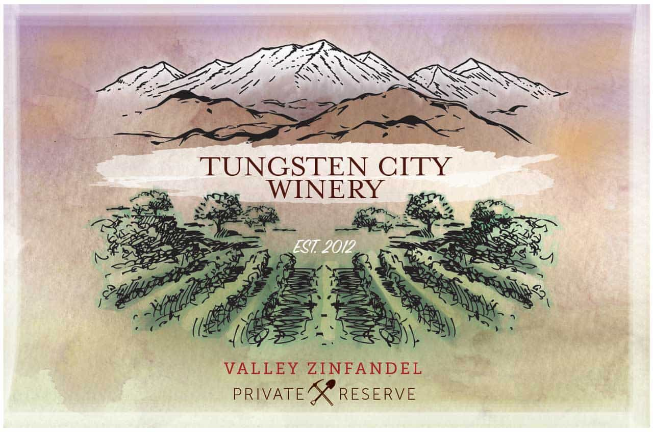 Tungsten City Winery Wine Bottle Label
