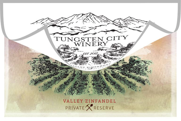 Tungsten City Winery Logo Design Peel Back Color Reveal